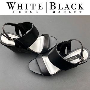 "WHBM ""Lindsay"" black leather open toe wedges 8"